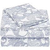 Amazon Brand – Pinzon 170-Gram Flannel Cotton Bed Sheet Set, Twin XL, Navy Paisley