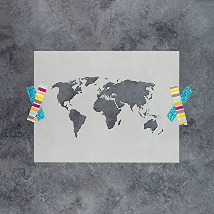 Amazon world map stencil template laser cut world map world map stencil template laser cut world map stencils reusable mylar stencil 85 gumiabroncs