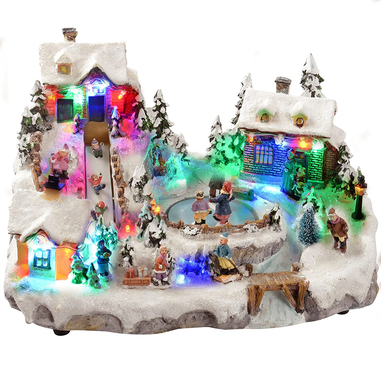 WeRChristmas Animated Christmas Village with Moving Ice Rink and ...
