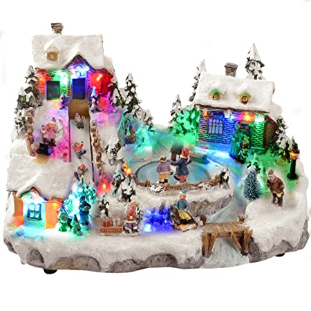werchristmas animated christmas village with moving ice rink and slidecolour led lights 31 - Animated Christmas Village