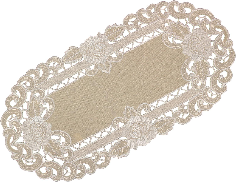 Beige Quinnyshop Fleur blanches Broderie ouverte Napperon env 20 cm Rond Optique-Lin