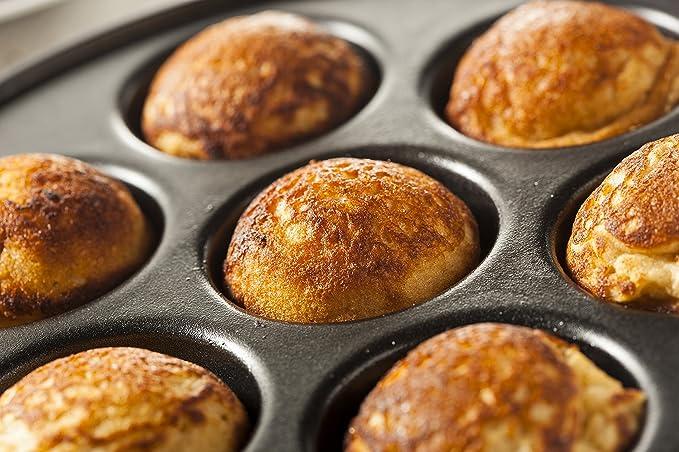 Upstreet Aebleskiver Pan para danés relleno bolas de crepe Negro: Amazon.es: Hogar