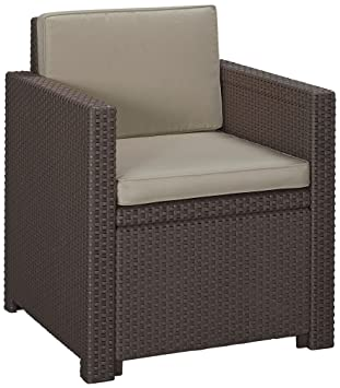 Amazon.de: Allibert Lounge Sessel Victoria mit Kissen, braun/taupe