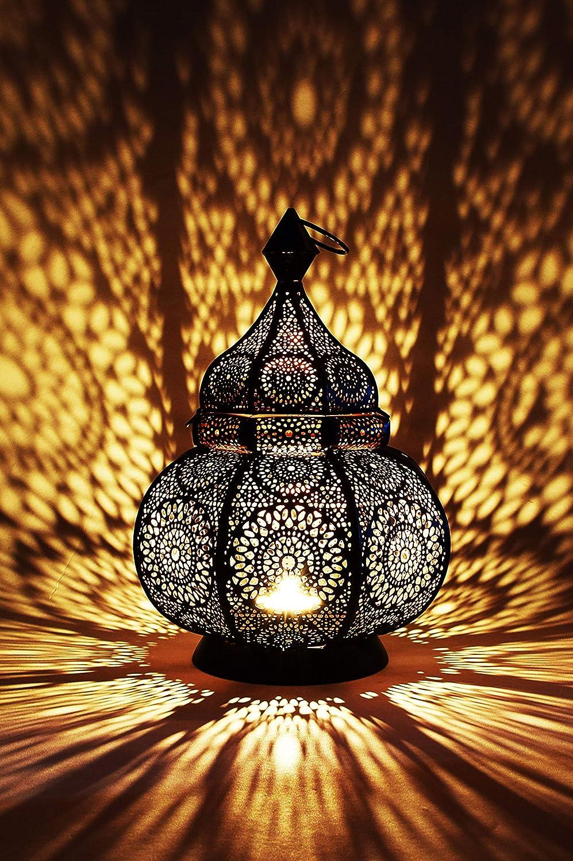 Farol oriental de metal Lamis negro 30 cm | Portavelas marroquí para jardín | Farol de metal marroquí para exterior como farol de jardín o interior como lámpara de mesa