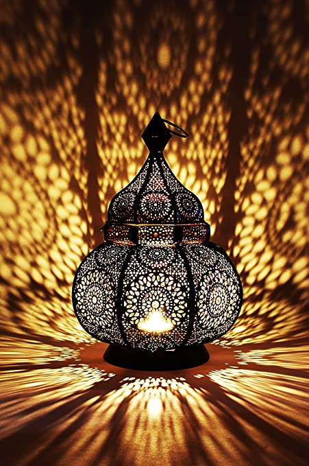 Moroccan Vintage Lantern Lights Lamp Ziva 30cm Black Large ...