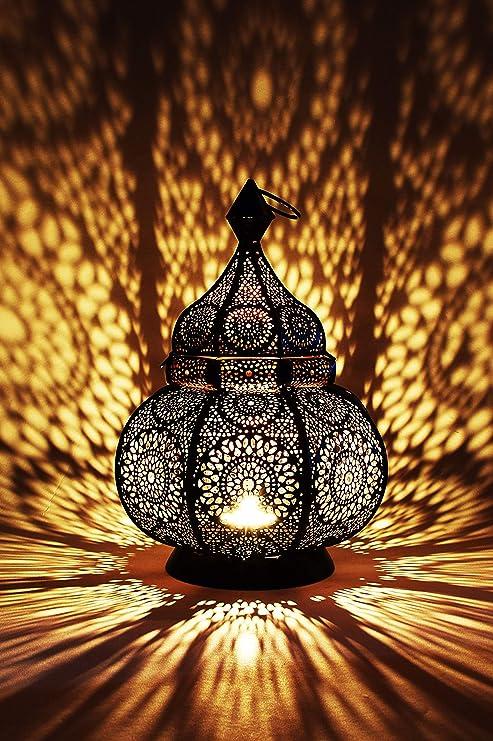Petite Lanterne Marocaine En Metal Ziva 30cm Noir Photophore