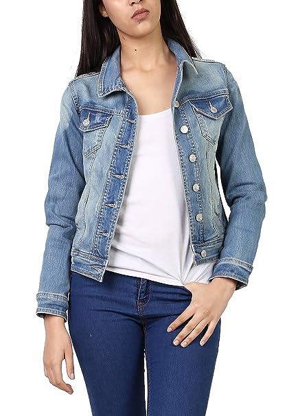 Softy Donna Giacca di Jeans Denim Casual Manica Lunga Bottoni Taglia S f4a5e44f302