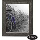 2-Pack, 8x10 inch Rustic Distressed Picture Frame with Easel, Made for Wall and Table Top Display