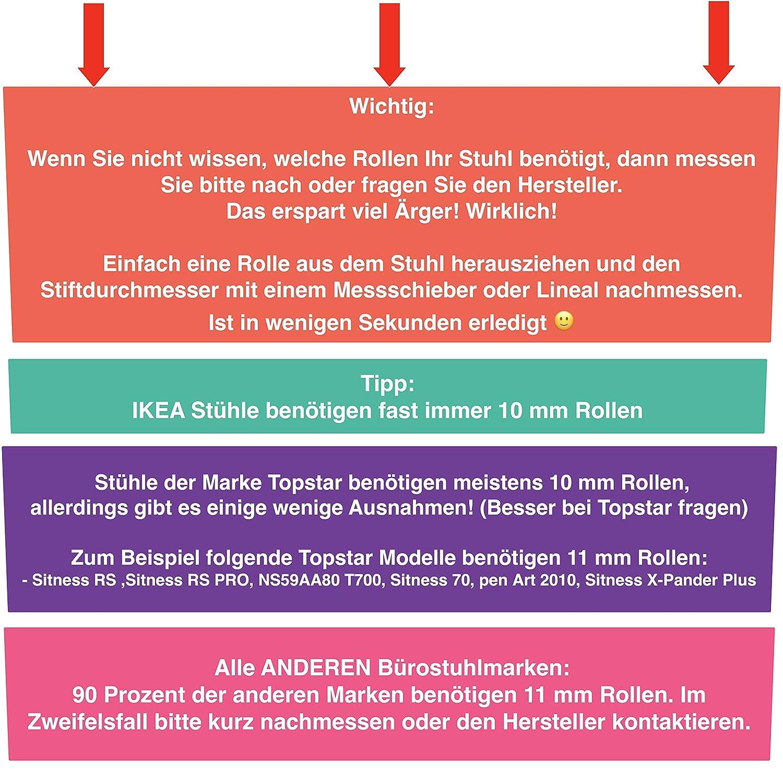 XeloTech 5er Set Hartboden-Rollen für Bürostuhl - 11mm x 22 mm ...