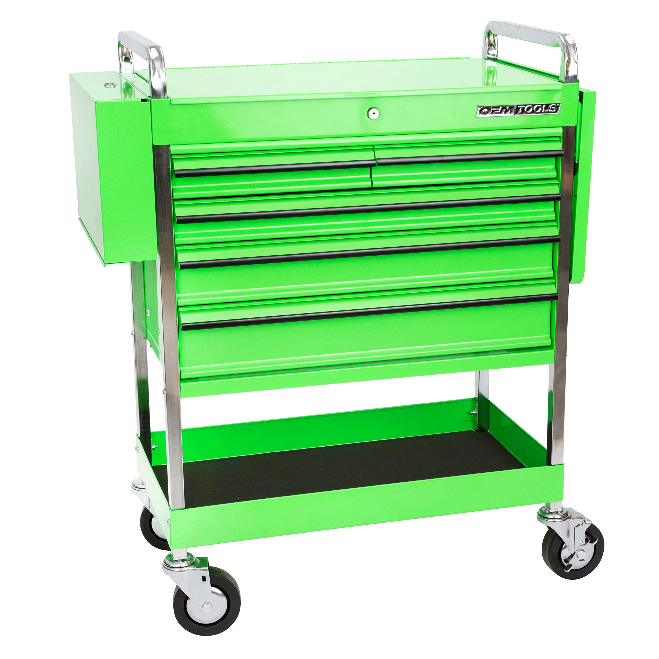Professional Service Cart - 5 Drawer and 1 Tray (Green) by OEMTOOLS (Image #1)