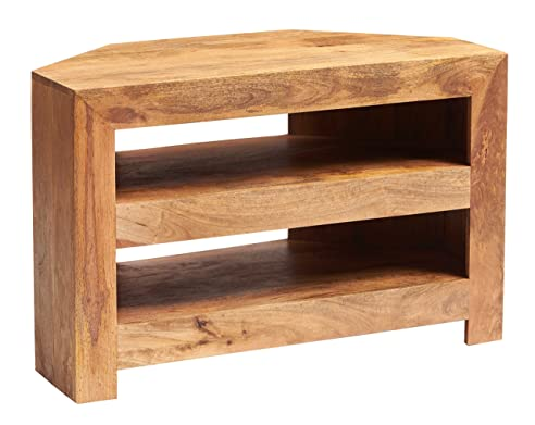 Solid Light Mango Holz Dakota Living Ecke TV-Schrank Indische ...