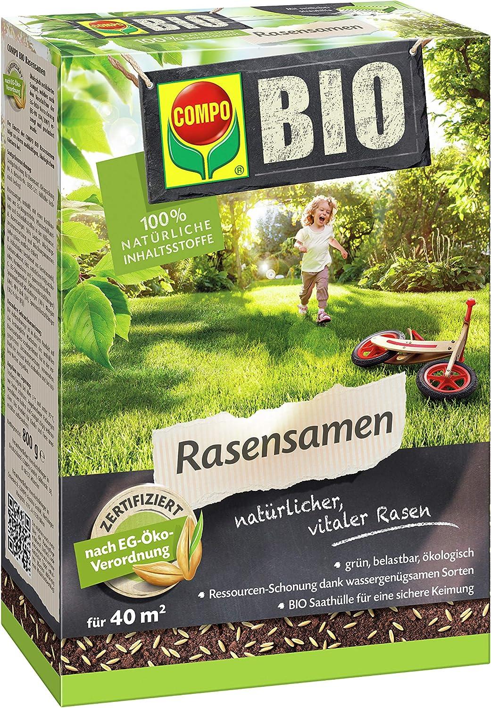 COMPO BIO Semilla de césped, certificada según el Reglamento Ecológico CE, 800 g, 40 m²