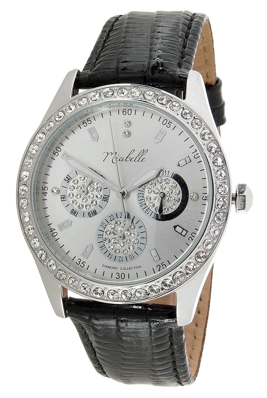 Miabelle Damen-Armbanduhr Analog Quarz Diamanten Leder Schwarz - 12-009W-C-MB