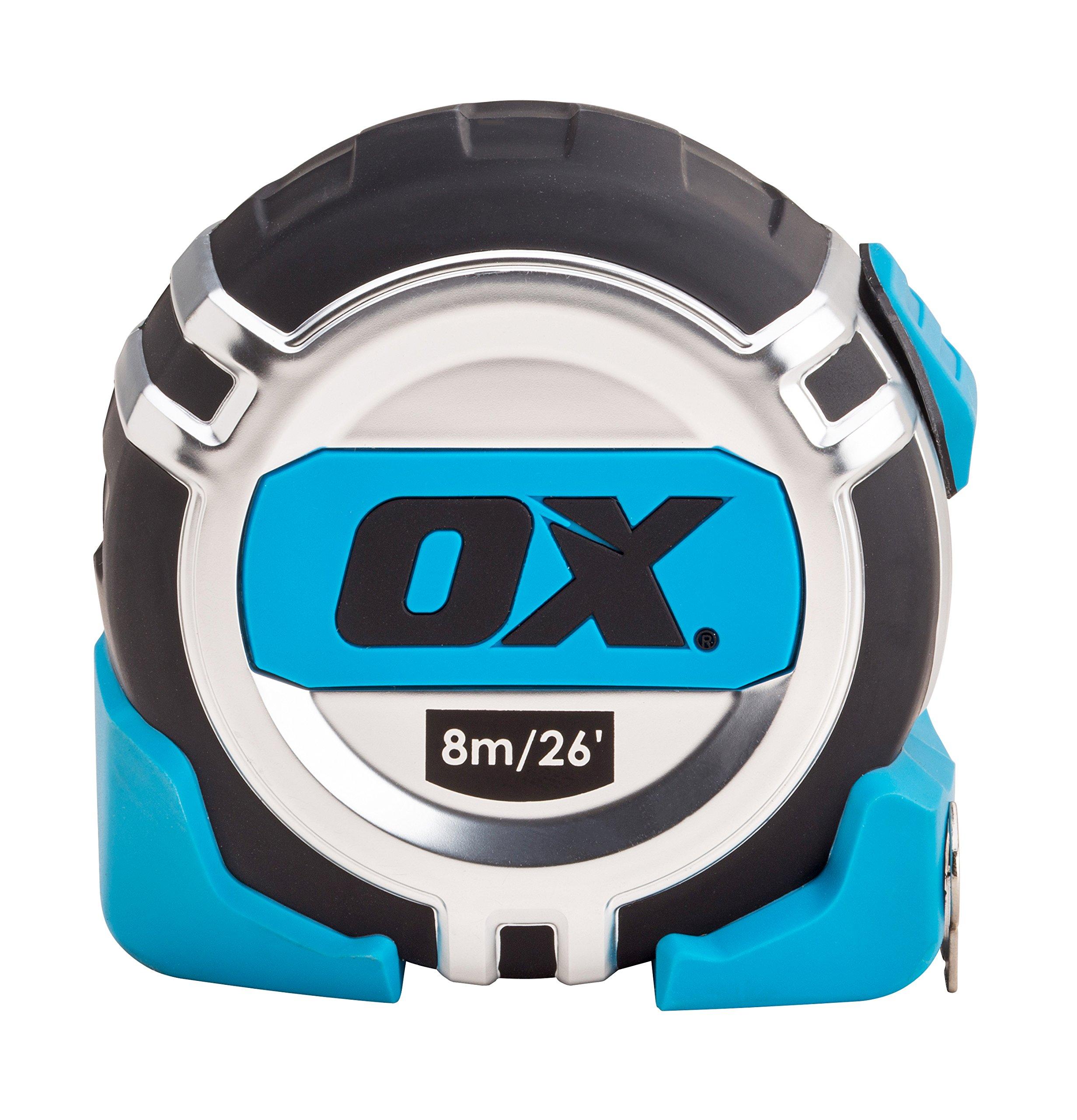 OX OX-T029108 Trade Series Metric Measuring Nylon Coated-8 m Tape Measure schwarz//blau,