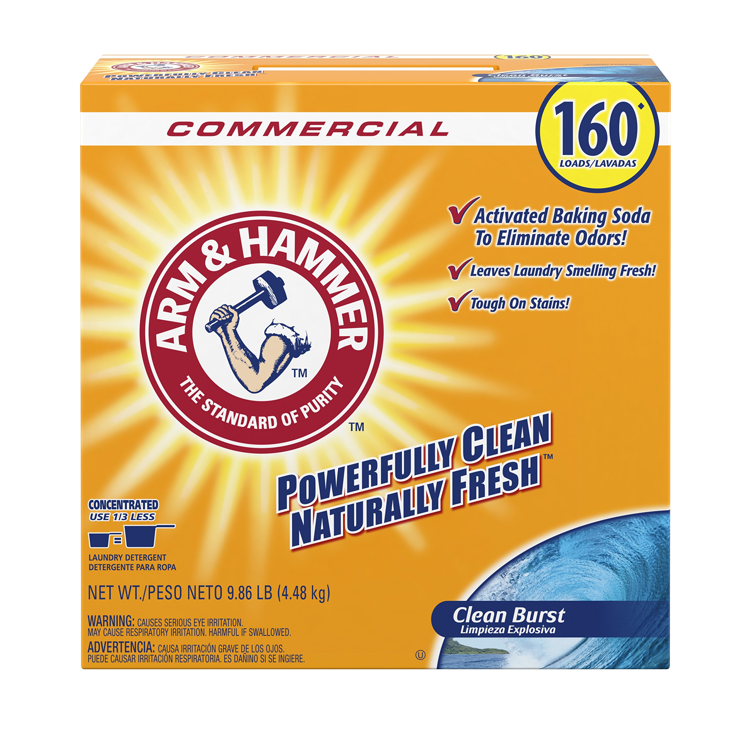 Arm & Hammer 33200-00109 Powder Laundry Detergent, Clean Burst, 9.86 lb. (Pack of 3) by Arm & Hammer