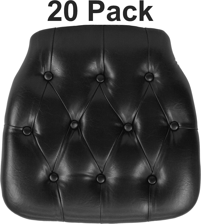 Flash Furniture Hard Black Tufted Vinyl Chiavari Chair Cushion