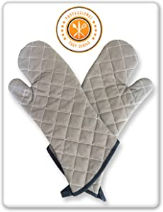 Oven Mitts Professional Chef Grey. 2 Sets. Extra Long-One Size Fits All. Added Protection from Grease Splatter, Steam Burns. Ideal for Super Hot Ovens, Deep Fried Turkey, BBQ and Fireplace.