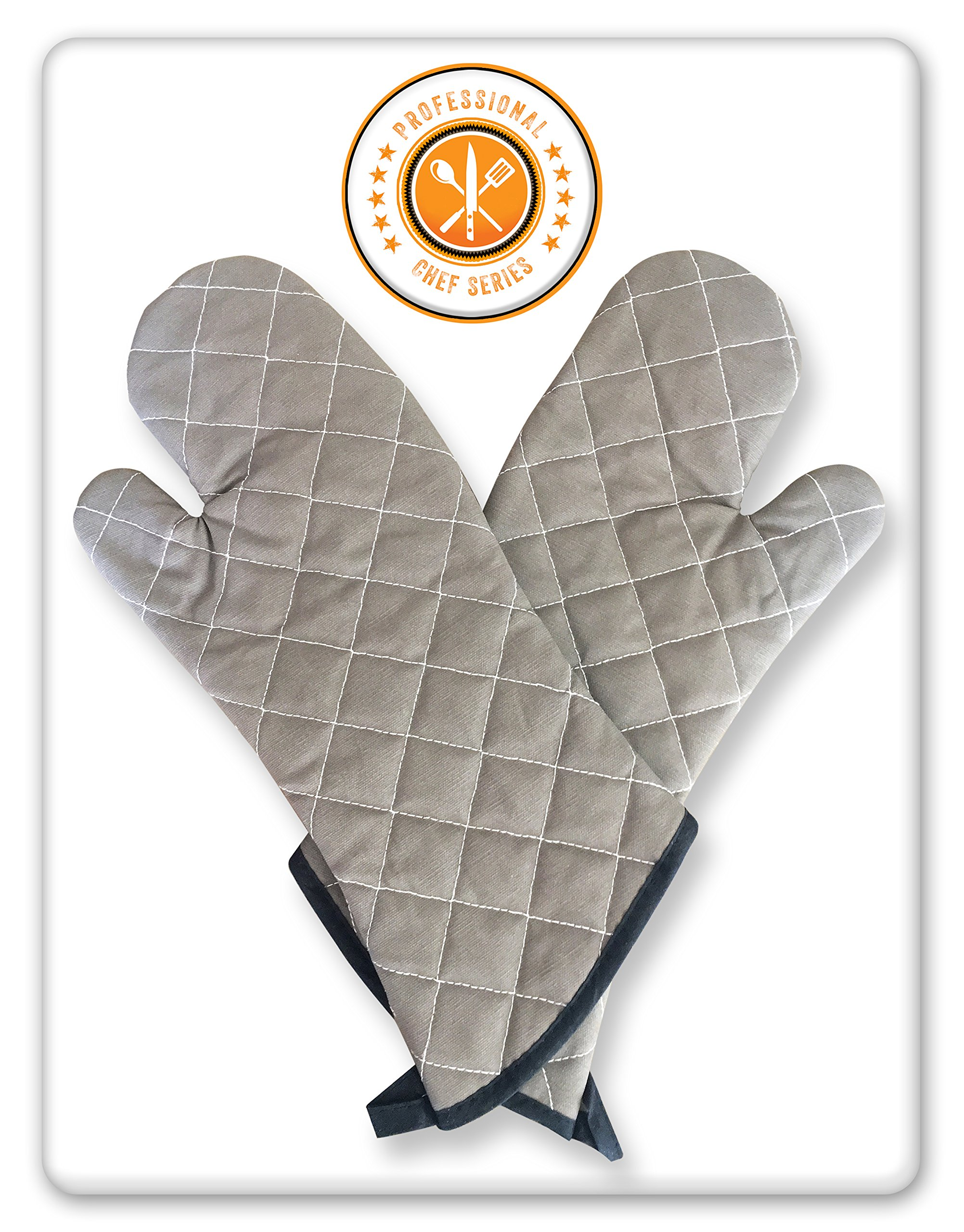 Oven Mitts Professional Chef Grey. 5 Sets. Extra Long-One Size Fits All. Added Protection from Grease Splatter, Steam Burns. Ideal for Super Hot Ovens, Deep Fried Turkey, BBQ and Fireplace.