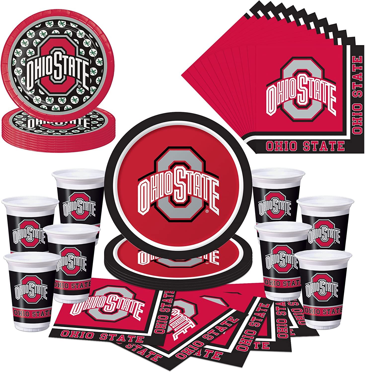 Amazon Com Ohio State Buckeyes Osu Party Pack Plates Cups