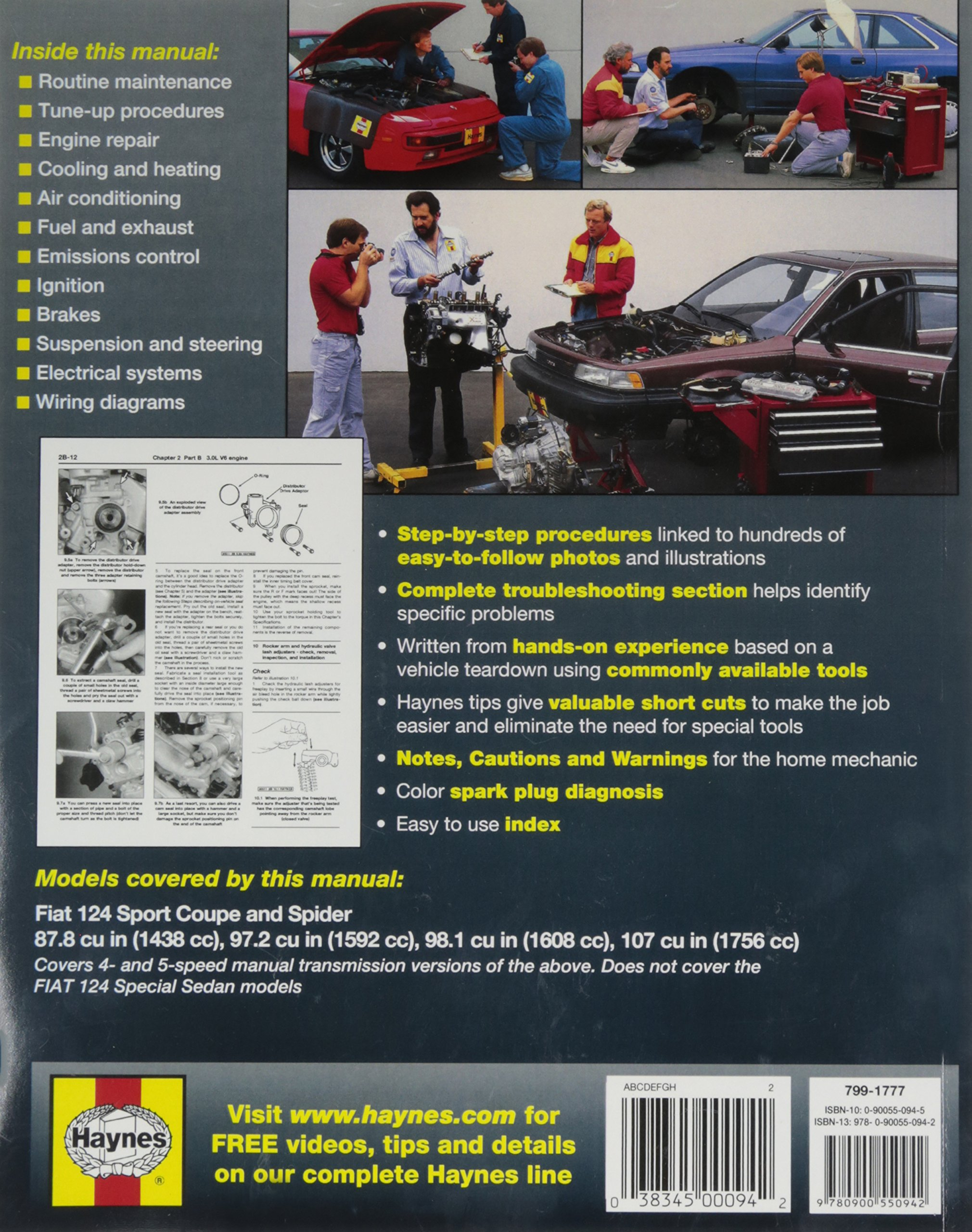 Haynes Publications Inc 34010 Repair Manual 0038345000942 Amazon Fiat 124 Transmission Diagram Books