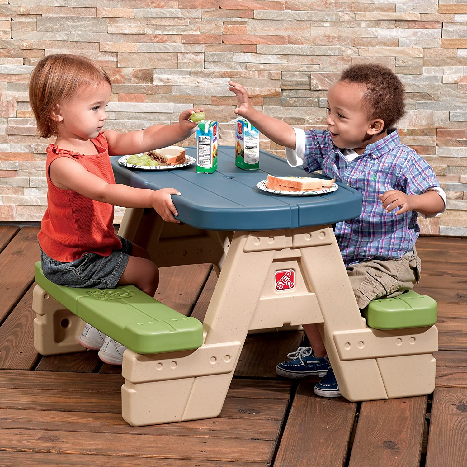Amazon.com: Step2 Sit And Play Kids Picnic Table With Umbrella: Toys U0026 Games