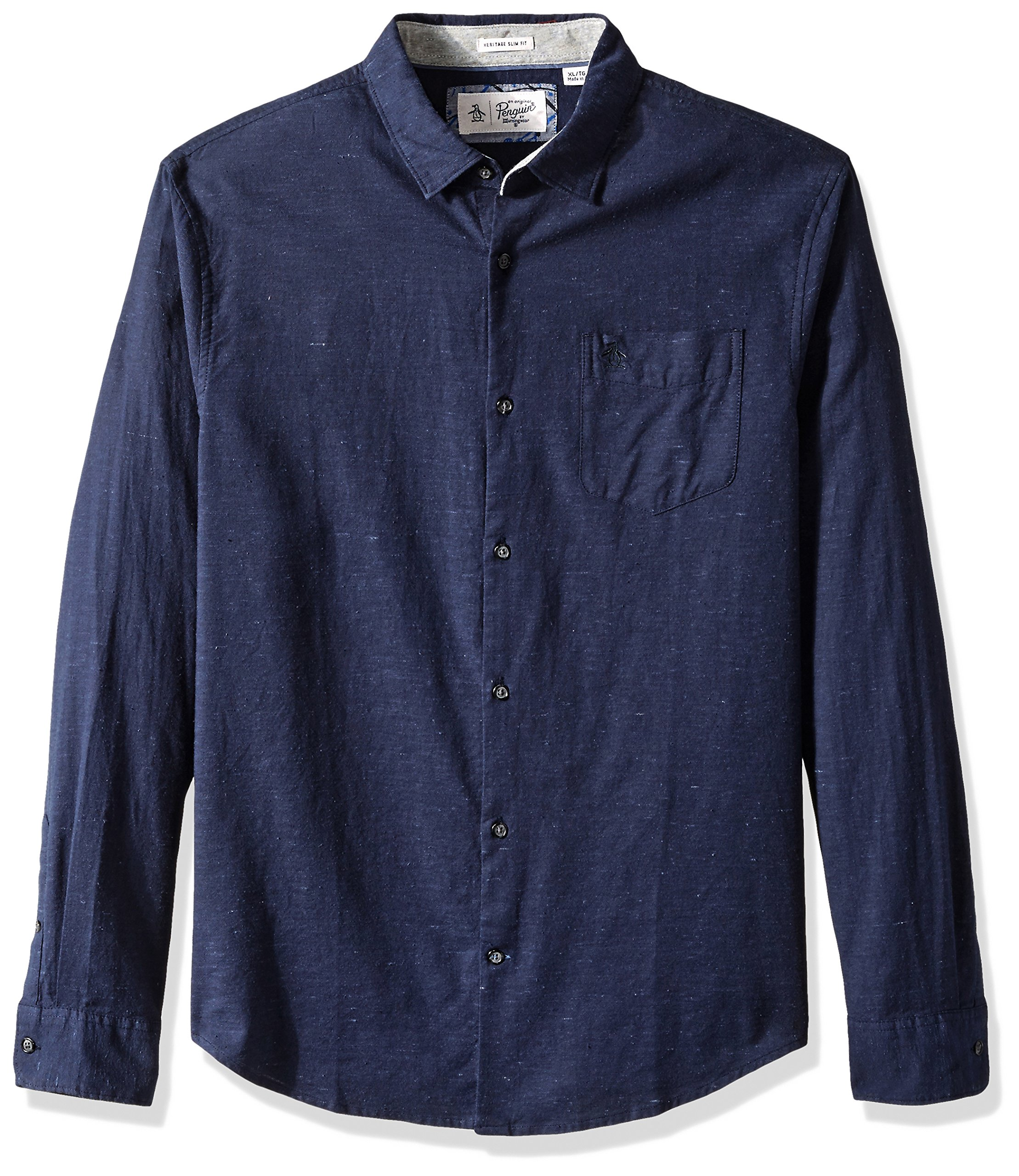 Original Penguin Men's Brushed Oxford Dress Shirt, Dark Sapphire, Medium