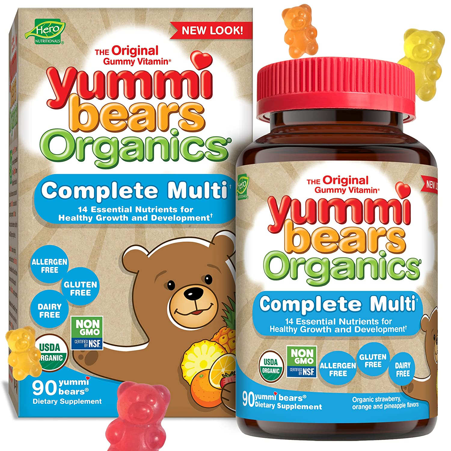 Yummi Bears Organics Complete Multi Vitamin and Mineral Supplement, Gummy Vitamins for Kids, 90 Count