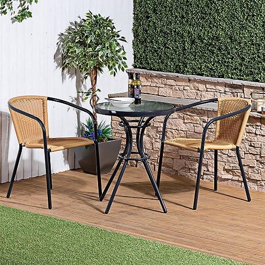 Bistro giardino rattan vimini set di mobili da esterno tavolo da pranzo sedie 2 due