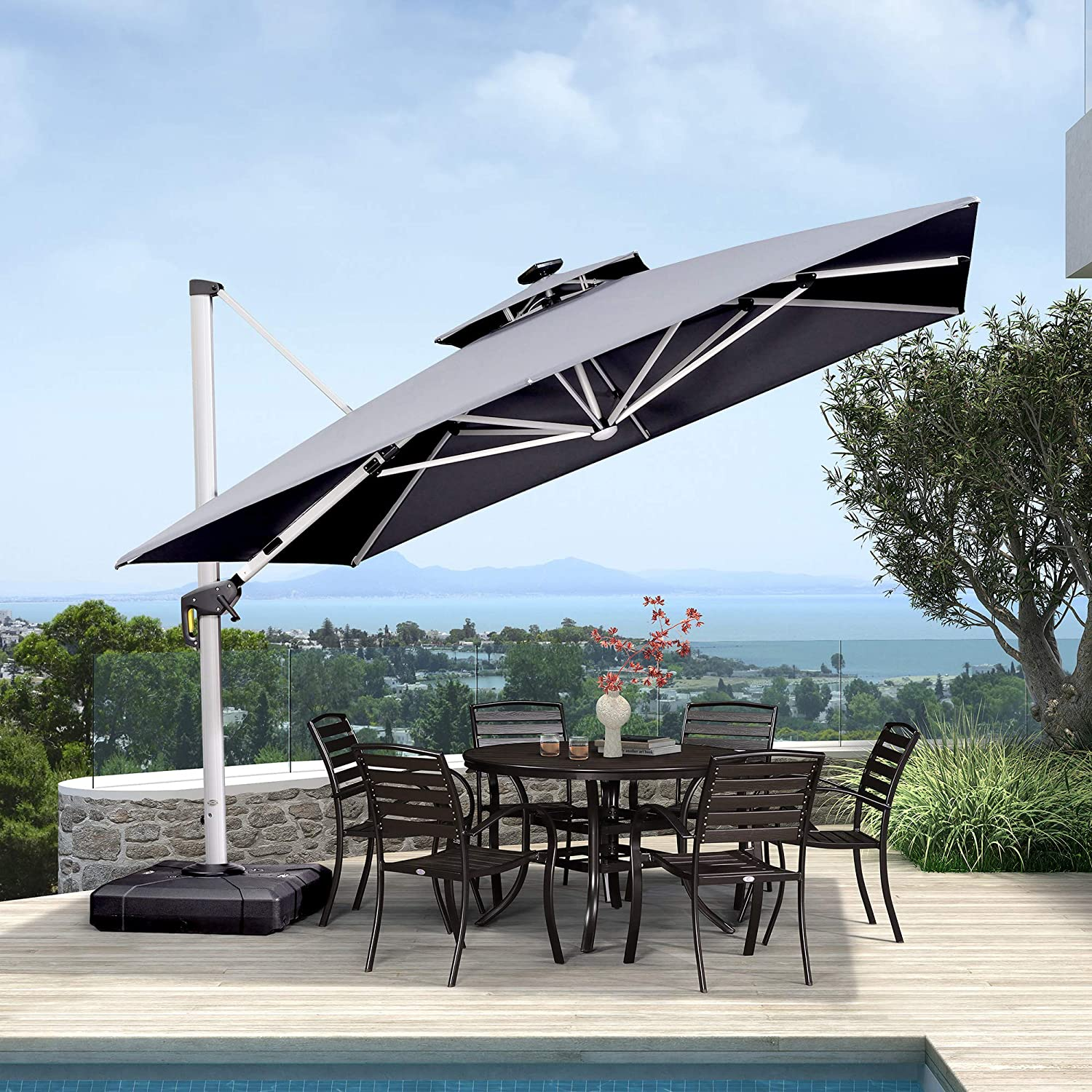 PURPLE LEAF 11 Feet Double Top Deluxe Solar Powered LED Square Patio Umbrella Offset Hanging Umbrella Outdoor Market Umbrella Garden Umbrella, Grey