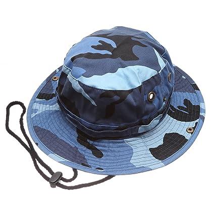 9e35ac669f3ba MIRMARU Summer Outdoor Boonie Hunting Fishing Safari Bucket Sun Hat with  Adjustable Strap (Blue Sky Camo