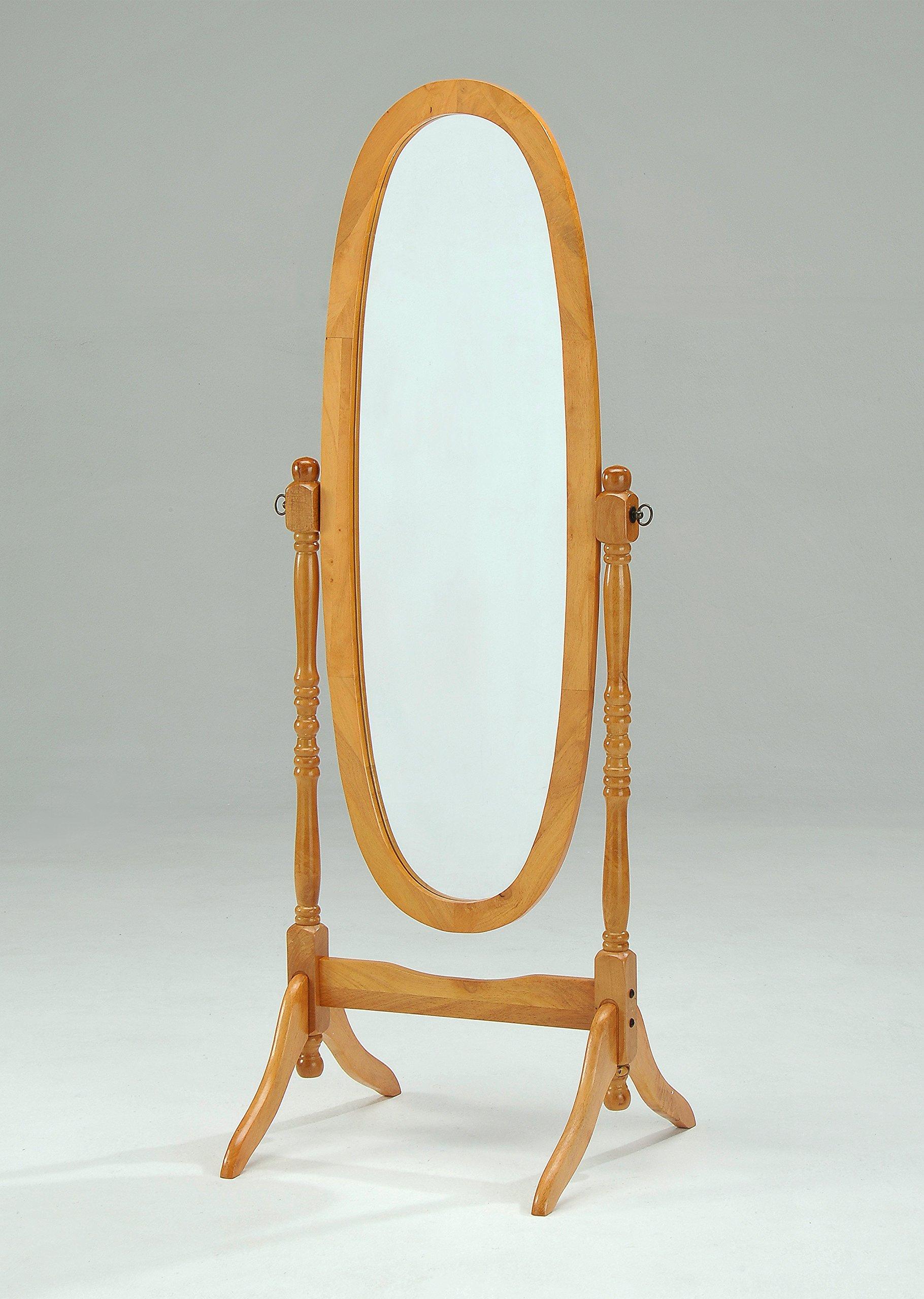 Wooden Cheval Floor Mirror, Oak Finish