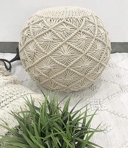 The Knitted Co. Cotton Pouf Handmade Macrame Ottoman