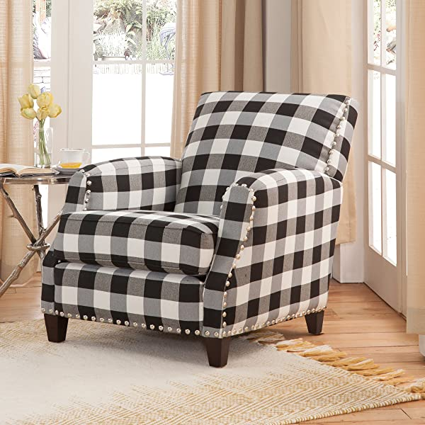 Grafton 8025-01-00 Holland Plaid Chair with Nailheads, One Size, Black/White