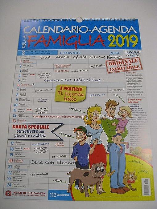 Calendario Agenda Della Famiglia 2019 Da Muro In Verticale Amazon