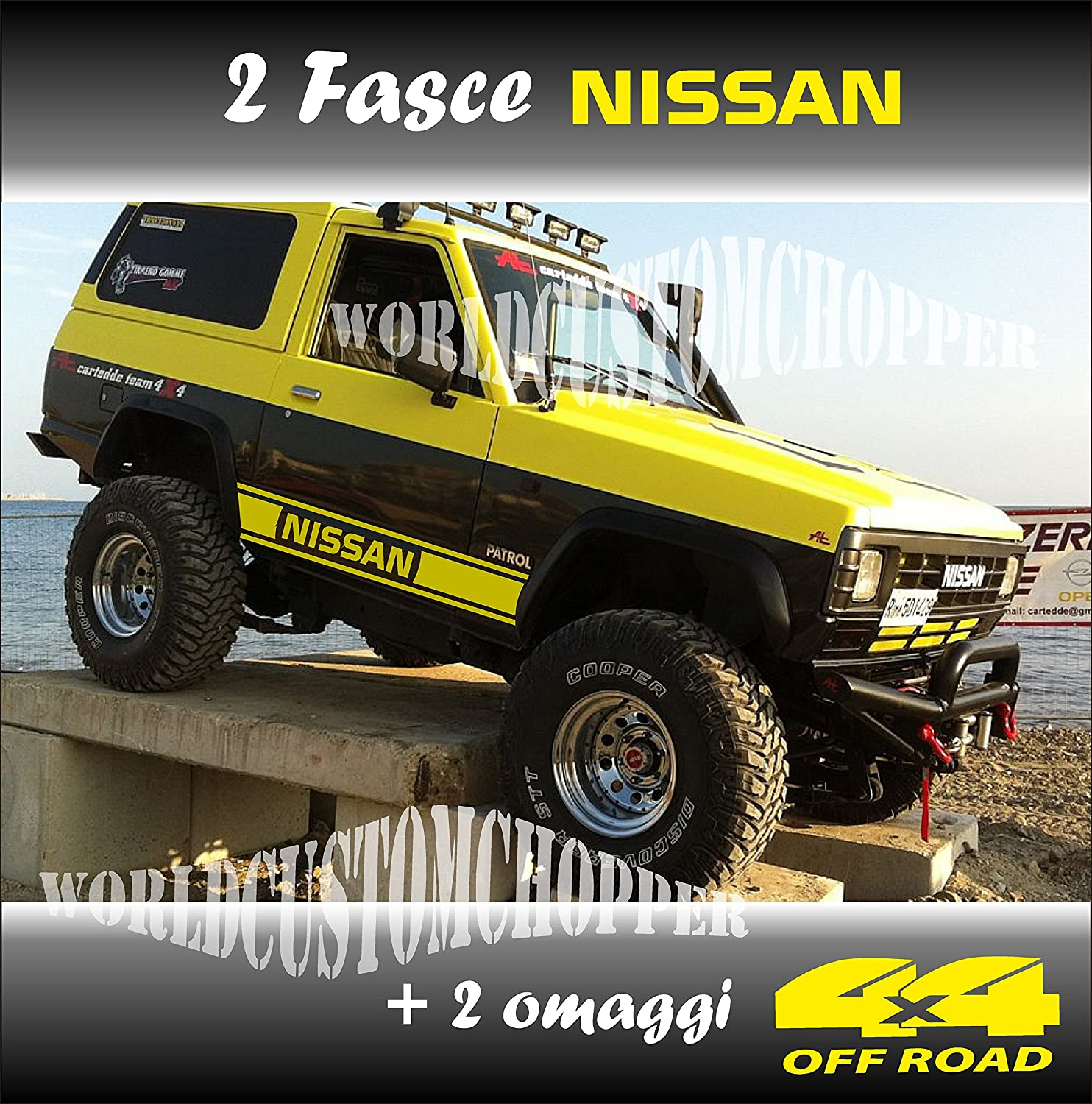 Amazon fr couple stickers bandes hors route nissan 4 x 4 off road 2 hommages 4 x 4