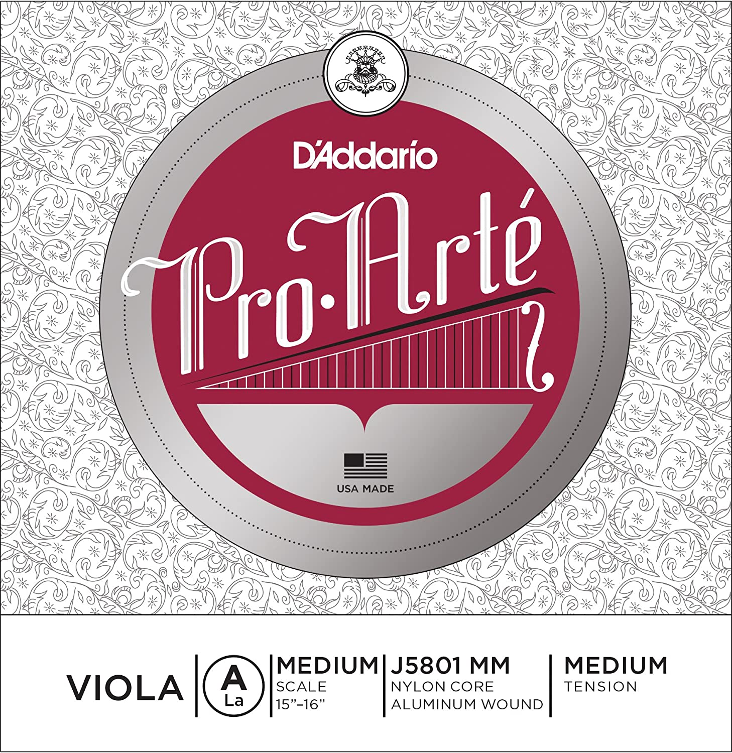 D'Addario Pro-Arte Viola Single A String, Short Scale, Medium Tension D'Addario &Co. Inc J5801 SM