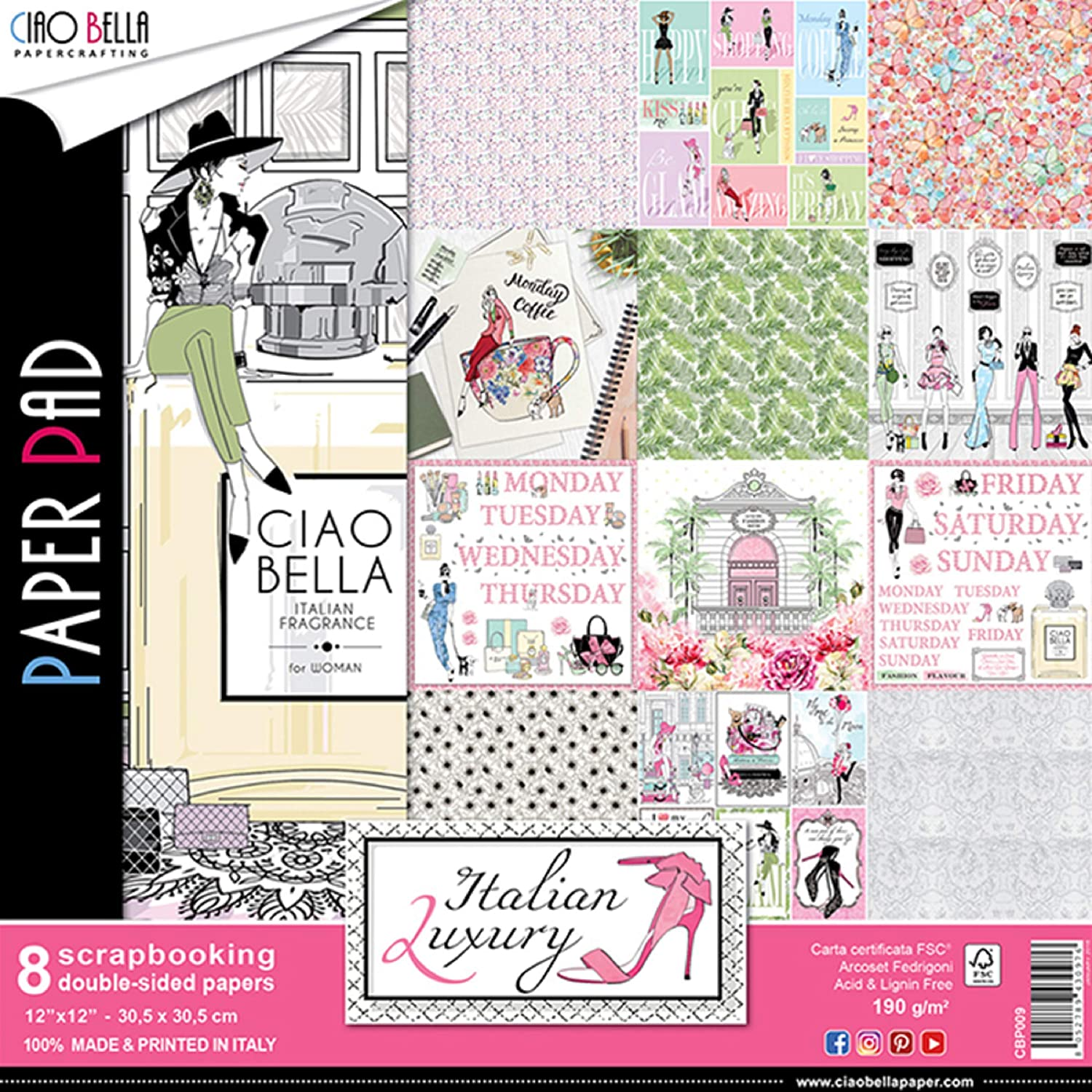 Pk 24 x 12 x 12 FSC Paper Pad Double Sided Pink Lady  for card and crafts