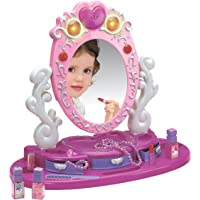 Dresser Vanity Beauty Set - Pink Princess Pretend Play Dressing Table Top Set with Makeup Mirror, Jewelry and…