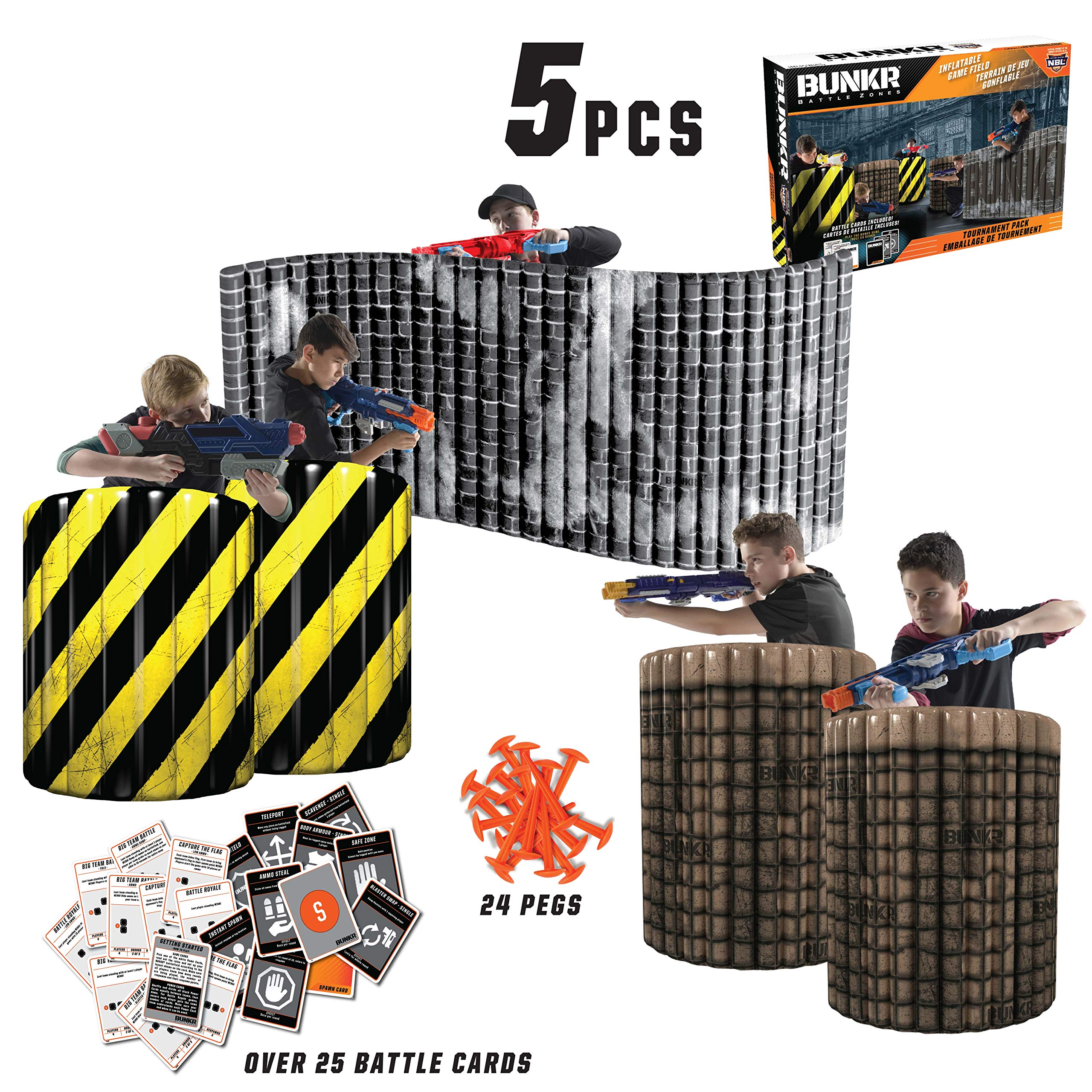 BUNKR Inflatable Battlezone Tournament Set (5 Piece), City Zone. (Compatible with Nerf, Laser X, X-Shot and Boomco), Black/Yellow/Grey/Brown/Beige by BUNKR