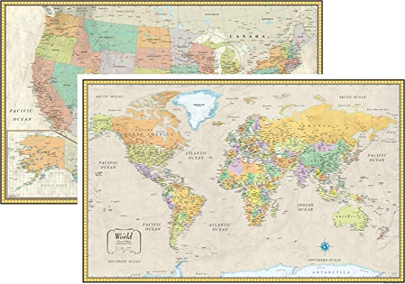Rand McNally clásico de los Estados Unidos Estados Unidos y mapa mural del mundo Set: Amazon.es: Oficina y papelería