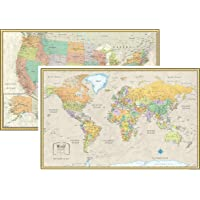 RMC Classic United States USA and World Wall Map Set 50Wx32H