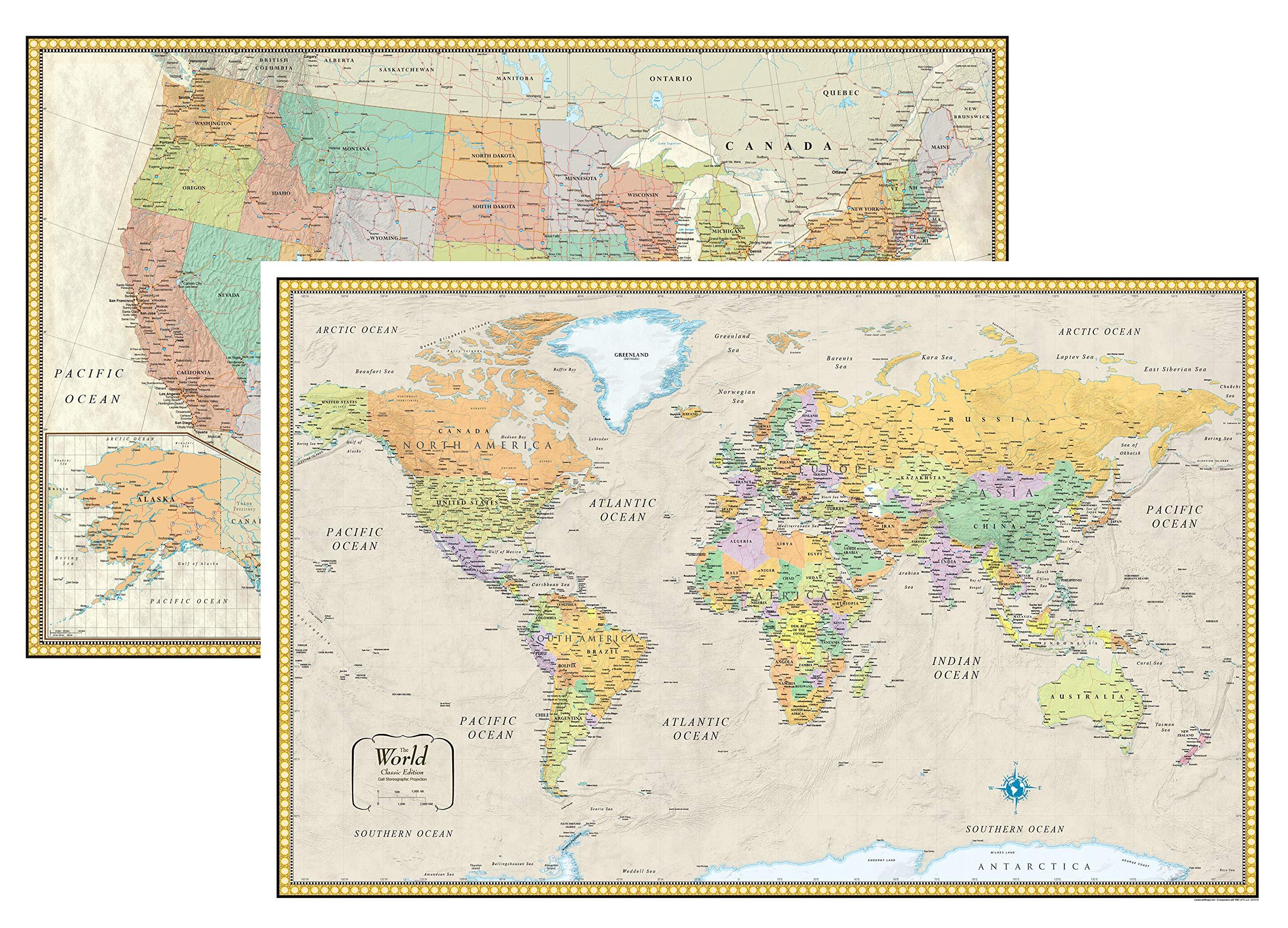 RMC Classic United States USA and World Wall Map Set (Laminated) by Swiftmaps