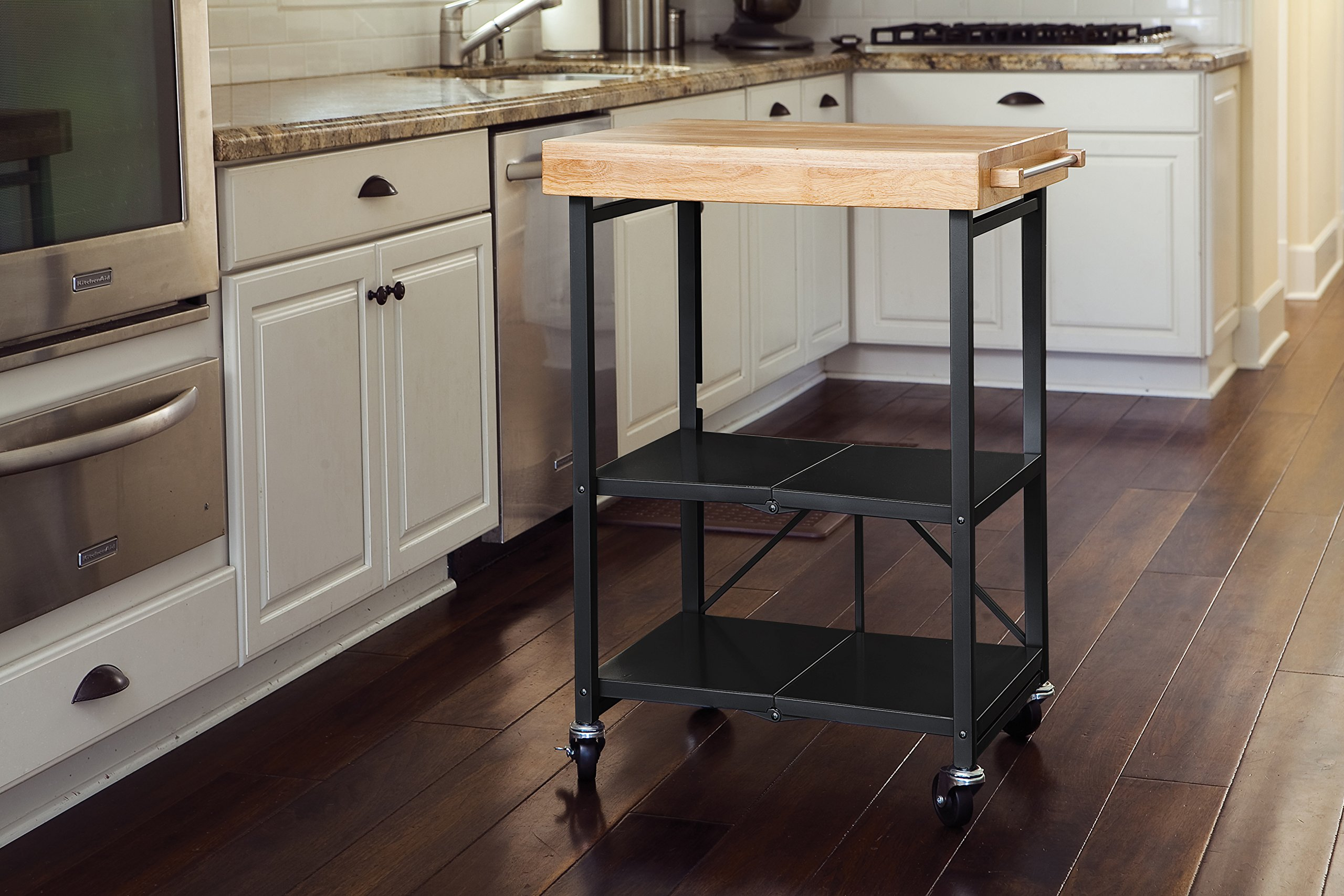 Origami Foldable Kitchen Island Cart, Black by Origami
