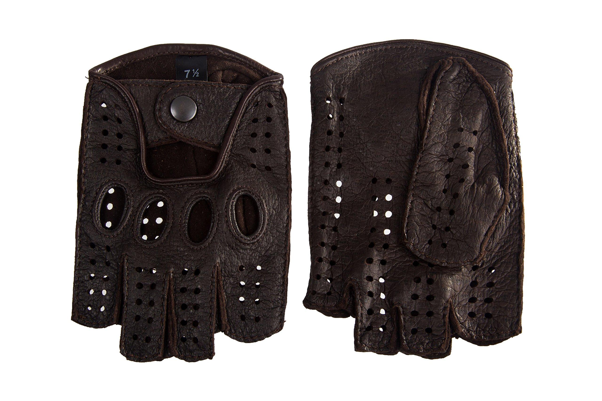 Women's Peccary Fingerless Driving Cycling Gloves Dark Brown (8.5, Dark Brown)