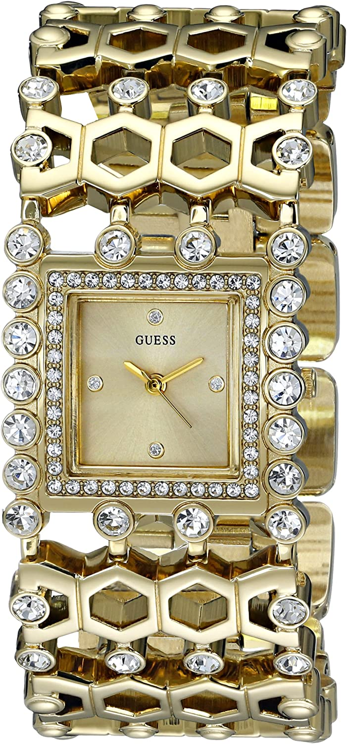 GUESS Women s U0574L2 Gold-Tone Watch with Crystals Adjustable Links