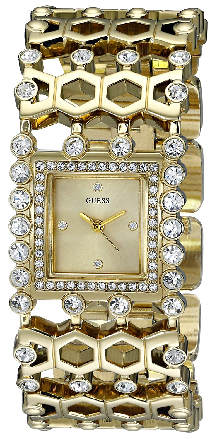 GUESS Women's U0574L2 Gold-Tone Watch with Crystals & Adjustable Links B00NPLUK7O