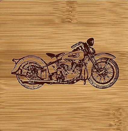 marcadas con láser de madera posavasos con diseño de Harley Davidson