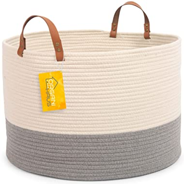 OrganiHaus XXL Extra Large Cotton Rope Basket w/Real Leather Handles | Wide 20 x13.3  Woven Blanket Storage Basket | Decorative Floor Basket for Living Room w/Genuine Leather Handles (Off-White/Grey)