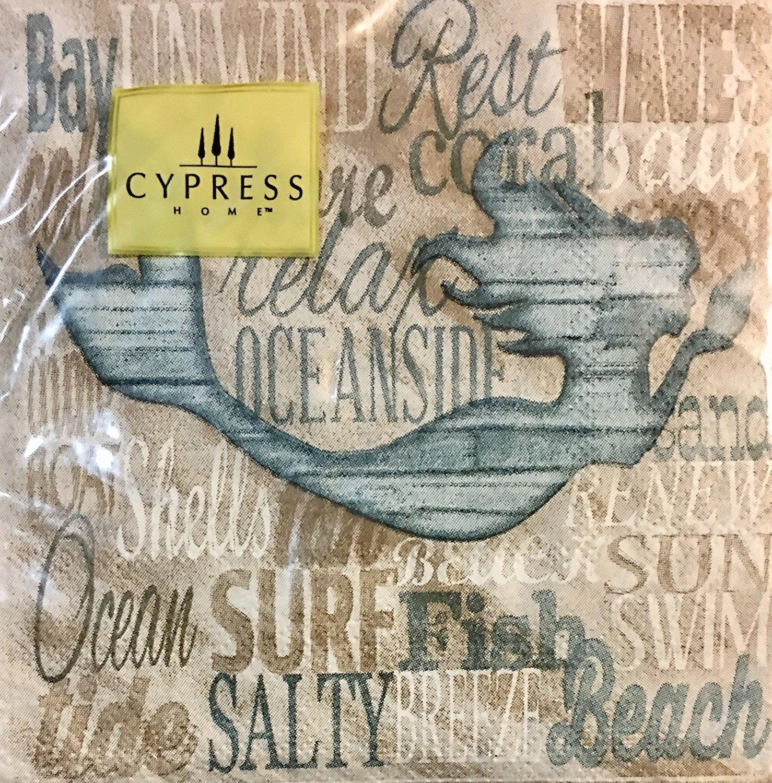 Cypress Home Cocktail Beverage Napkins ~ Mermaid 40 ct