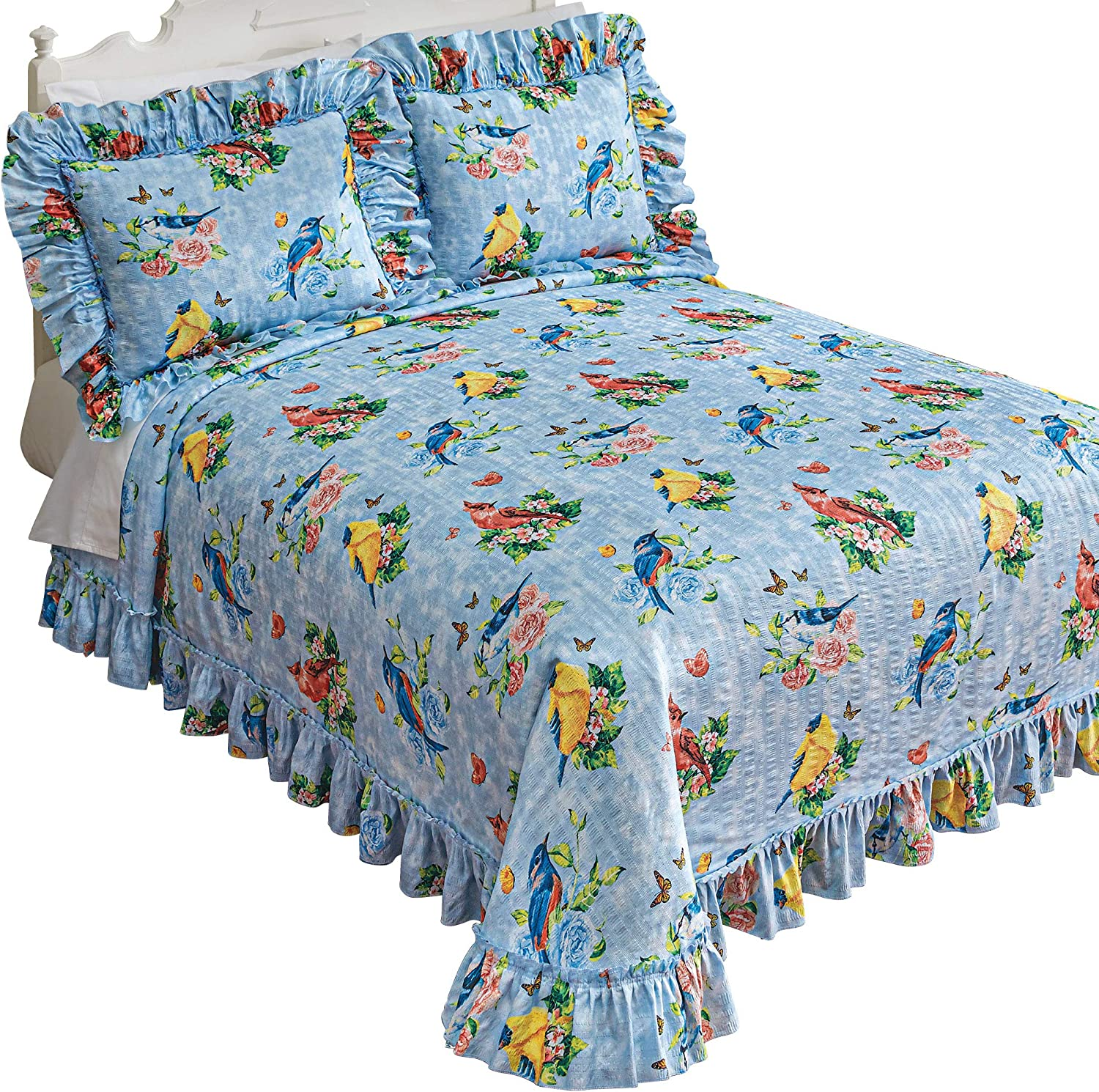 Elegant Addition to Any Home Polyester Queen Cotton King Attached Ruffle Luxurious Texture Lightweight Machine Washable Sky Blue Twin Full Beautiful Birds Sanctuary Plisse Bedspread